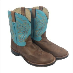 Double H Work Western Boots Size 12 EE Teal/Brown